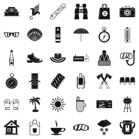 Long vacation icons set. Simple style of 36 long vacation vector icons for web isolated on white background