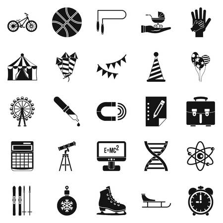 black family: Learner icons set. Simple set of 25 learner vector icons for web isolated on white background Illustration