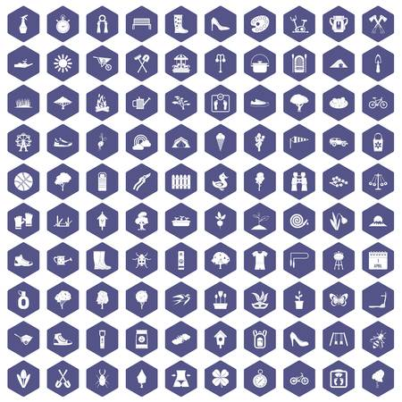 100 spring icons set in purple hexagon isolated vector illustration