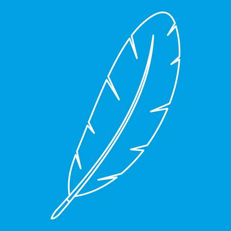 poet: Feather pen icon blue outline style isolated vector illustration. Thin line sign