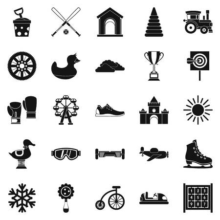 Playing the baby icons set. Simple set of 25 playing the baby vector icons for web isolated on white background