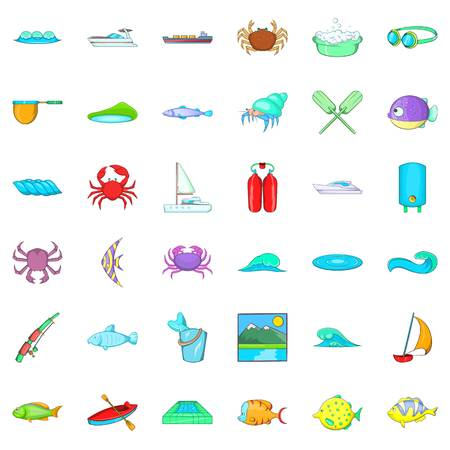Water fish icons set. Cartoon style of 36 water fish vector icons for web isolated on white background