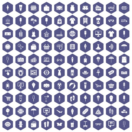 100 summer shopping icons set in purple hexagon isolated vector illustration Ilustração