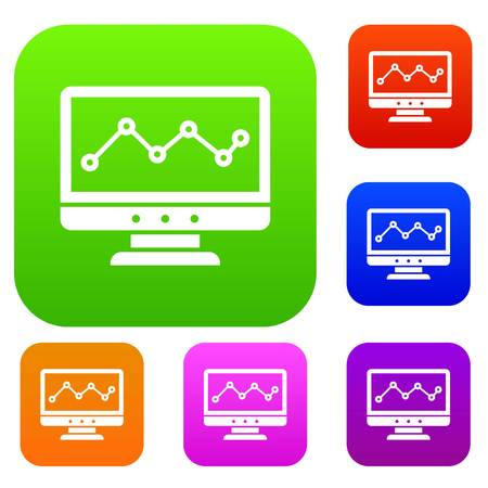 clarify: Graph in computer screen set icon in different colors isolated vector illustration. Premium collection