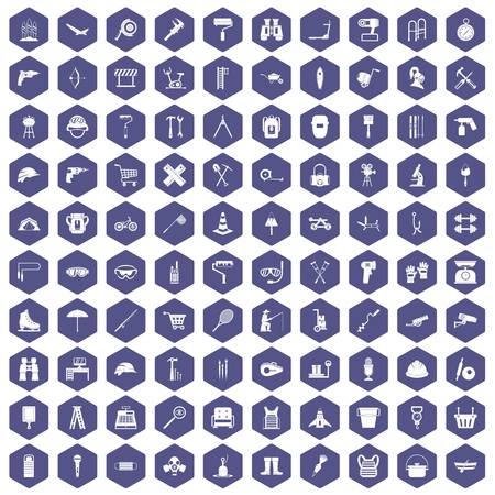 rolling bag: 100 tackle icons set in purple hexagon isolated vector illustration Illustration