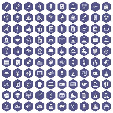 calendar icon: 100 team building icons set in purple hexagon isolated vector illustration Illustration