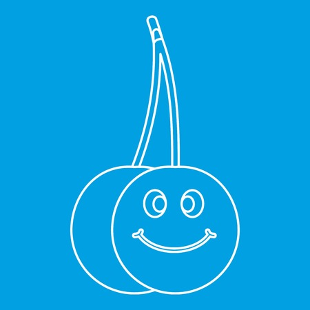 glace: Ripe smiling cherry icon blue outline style isolated vector illustration. Thin line sign