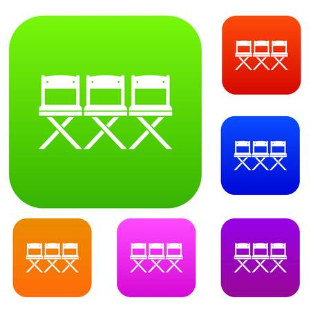 home office interior: Chairs set icon in different colors isolated vector illustration. Premium collection