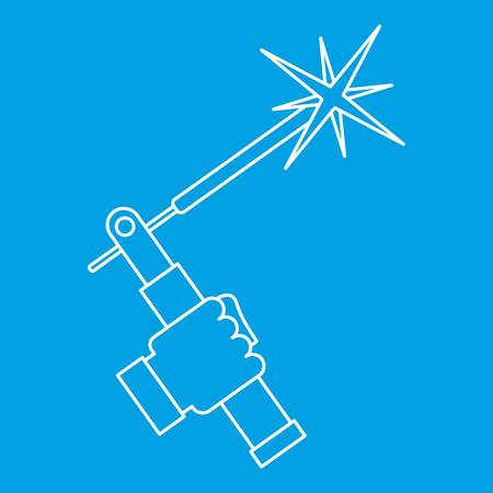 Welding torch icon outline. Illustration