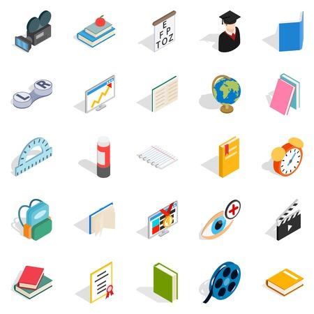 school class: Knowledge icons set, isometric style