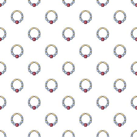 Bracelet with ruby pattern in cartoon style. Seamless pattern vector illustration