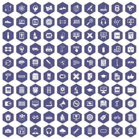 bar magnet: 100 training icons set in purple hexagon isolated vector illustration Illustration