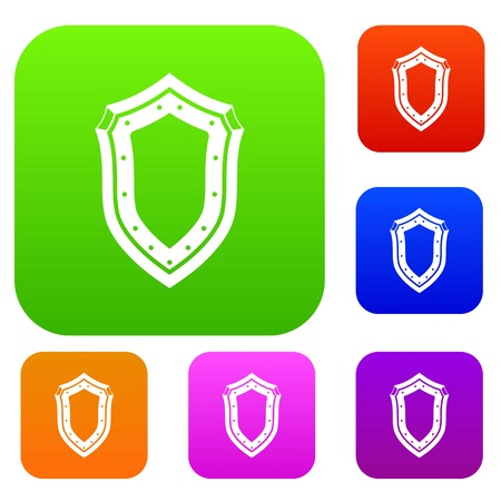 Shield set icon in different colors isolated vector illustration. Premium collection