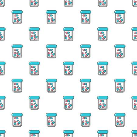 homeopathic: Plastic tablet jar pattern in cartoon style. Seamless pattern vector illustration