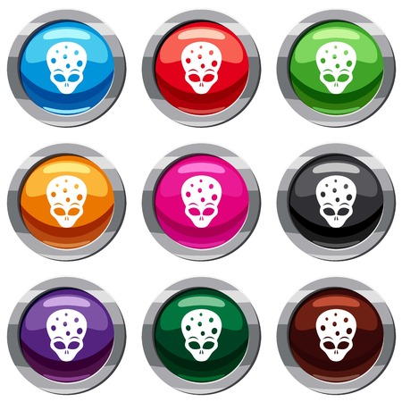 ufology: Extraterrestrial alien head set icon isolated on white. 9 icon collection vector illustration