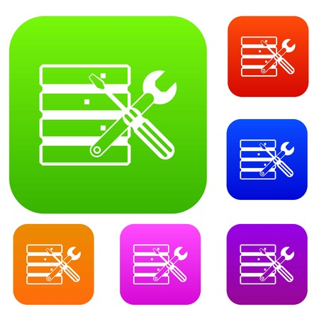 case: Database with screwdriverl and spanner set icon in different colors isolated vector illustration. Premium collection