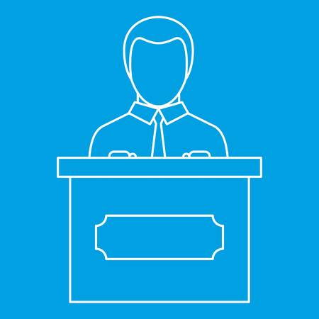Orator speaking from tribune icon, outline style