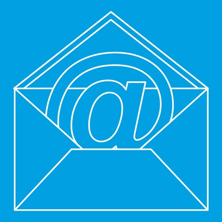 At sign mail in envelope icon, outline style