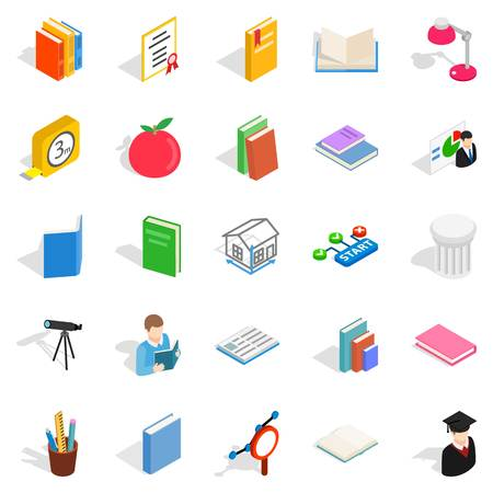 school class: Learning icons set, isometric style
