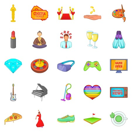 Weekend icons set. Cartoon set of 25 weekend vector icons for web isolated on white background Illustration