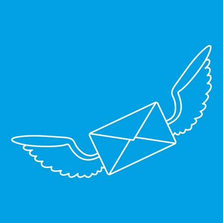 Winged mail envelope icon blue outline style isolated vector illustration. Thin line sign Illustration