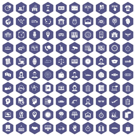 100 working hours icons set in purple hexagon isolated vector illustration Illustration