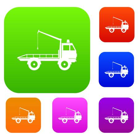 evacuating: Car towing truck set icon in different colors isolated vector illustration. Premium collection Illustration