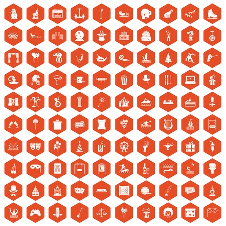 swimming candles: 100 amusement icons set in orange hexagon isolated vector illustration