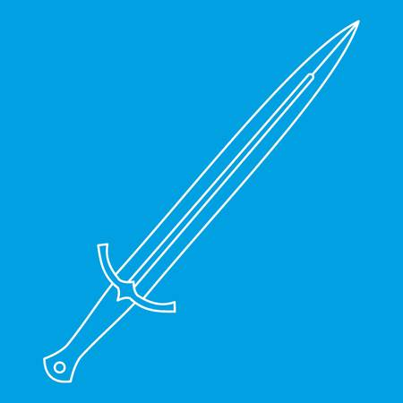 longsword: Long sword icon blue outline style isolated vector illustration. Thin line sign Illustration