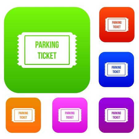 Icona del set di parcheggio di parcheggio in colori diversi isolato illustrazione vettoriale collezione politica