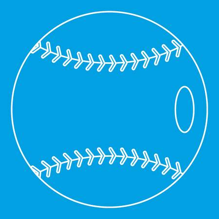 Baseball icon blue outline style isolated vector illustration. Thin line sign Ilustração
