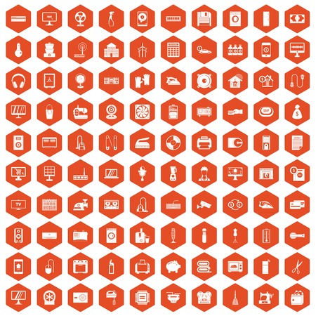 100 appliances icons set in orange hexagon isolated vector illustration