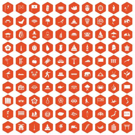 100 asian icons set in orange hexagon isolated vector illustration