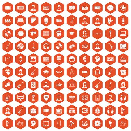 listeners: 100 audience icons set in orange hexagon isolated vector illustration