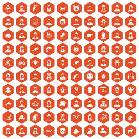 100 avatar icons set in orange hexagon isolated vector illustration Imagens - 83688507