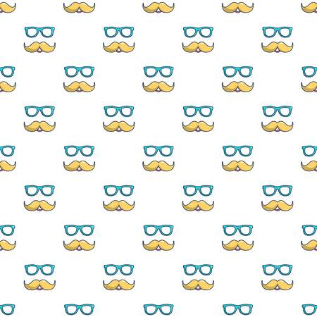 Nerd glasses and mustaches pattern seamless