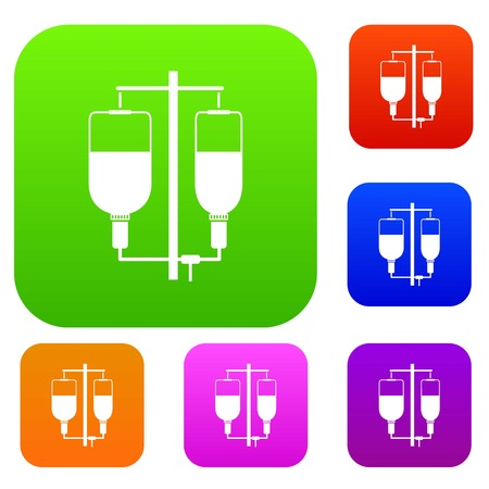 Intravenous infusion set icon in different colors isolated vector illustration. Premium collection