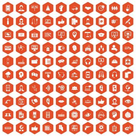 100 call center icons hexagon orange