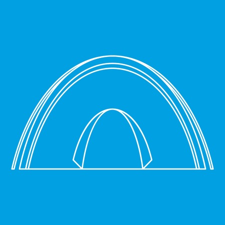 camper: Dome tent icon, outline style Illustration