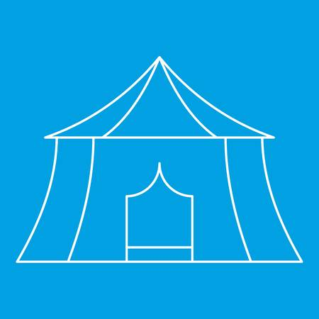 Hiking and camping tent icon blue outline style isolated vector illustration. Thin line sign
