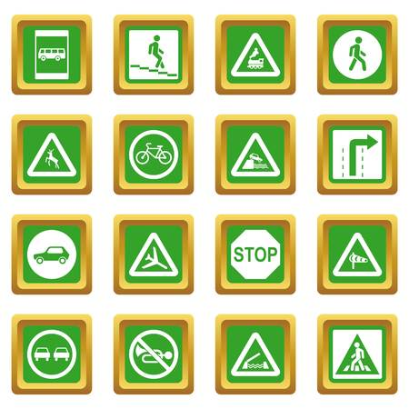Road Sign Set icons set in green color isolated vector illustration for web and any design Illustration