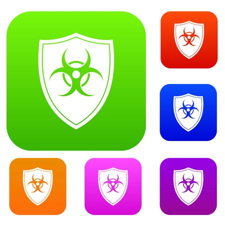 Shield with a biohazard sign set icon in different colors isolated vector illustration. Premium collection