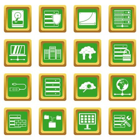 Database icons set in green color isolated vector illustration for web and any design