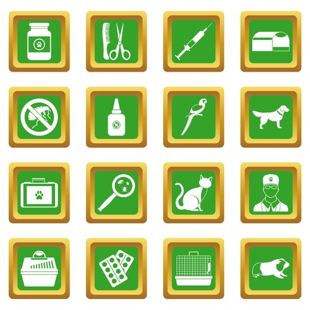 dog grooming: Veterinary icons set in green color isolated vector illustration for web and any design
