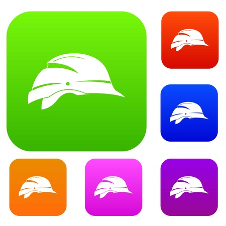 Hardhat set icon in different colors isolated vector illustration. Premium collection
