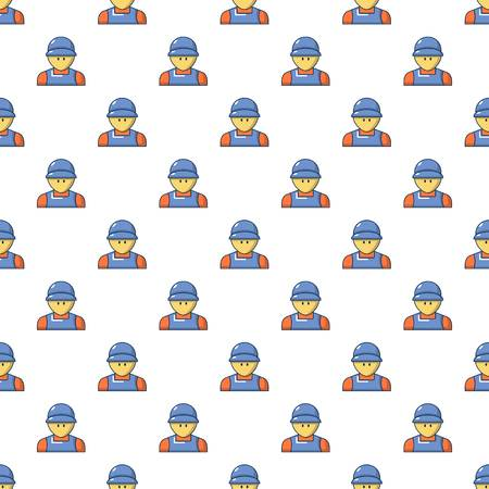 Plumber man face pattern in cartoon style. Seamless pattern vector illustration