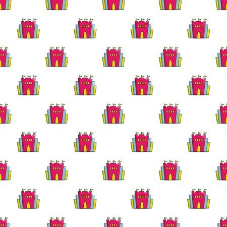 Princess castle pattern in cartoon style. Seamless pattern vector illustration