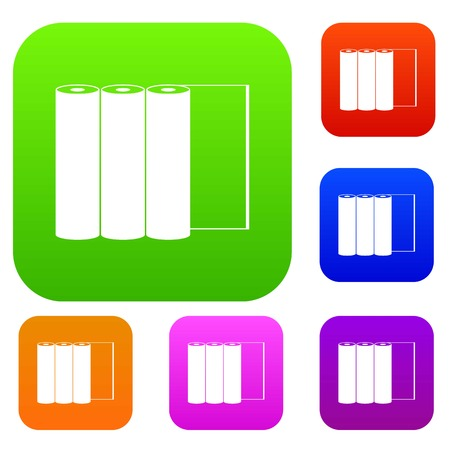 plot: Rolls of paper set icon in different colors isolated vector illustration. Premium collection