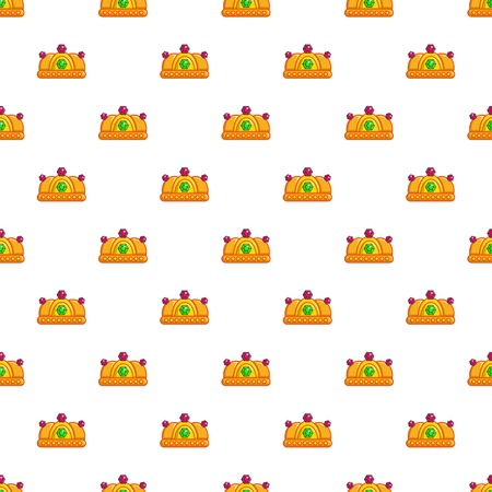 Ruby imperial crown pattern in cartoon style. Seamless pattern vector illustration