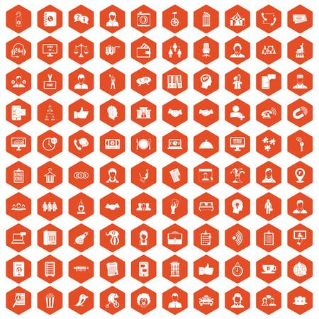 coherence: 100 coherence icons set in orange hexagon isolated vector illustration Illustration